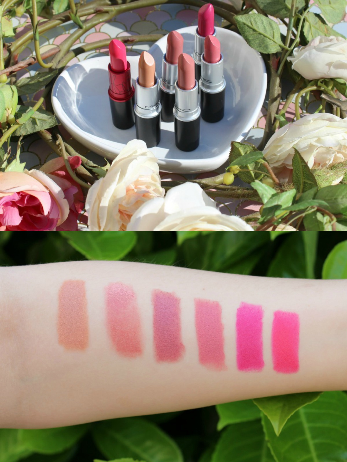 MAC Cosmetics Lipsticks Swatches, Peachstock, Girl About Town, Viva Glam Miley Cyrus, Brave, Patisserie, Please Me.