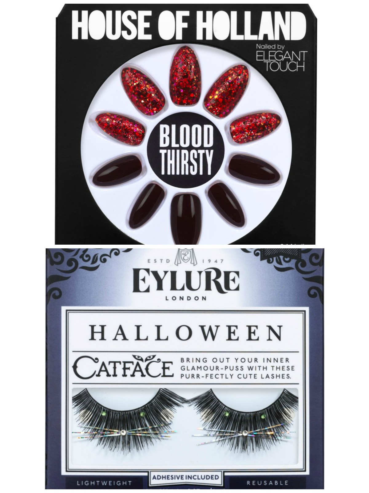 Eylure Halloween Cat Face False Eyelashesand Elegant Touch House of Holland Blood Thirsty Nails
